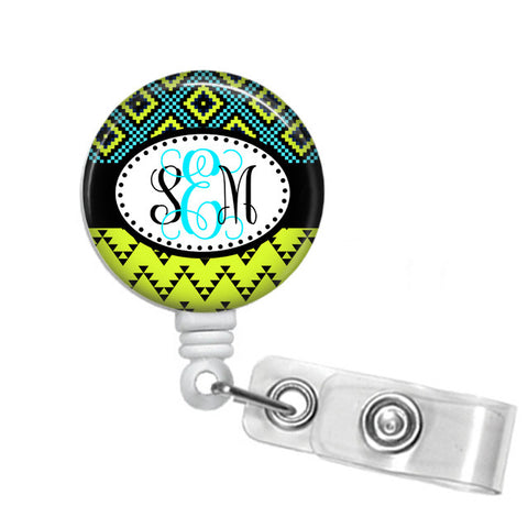 Badge Holder, Retractable Badge Reel, Aztec Lime and Turquoise - Designs by Dee's Hands  - 1