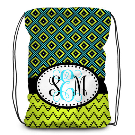 Drawstring backpack, tote - Aztec Lime and Turquoise - Designs by Dee's Hands