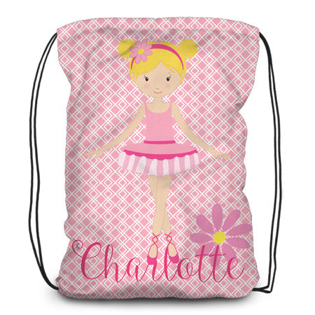 Drawstring backpack, tote - Ballerina - Designs by Dee's Hands  - 1
