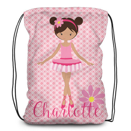 Drawstring backpack, tote - Ballerina - Designs by Dee's Hands  - 3
