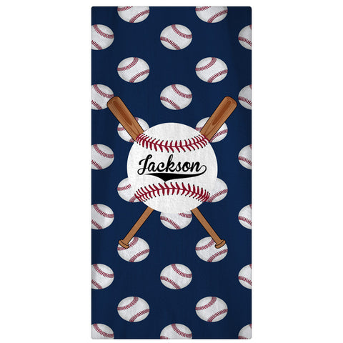 Beach Towel, Personalized Baseball & Bats - Designs by Dee's Hands  - 1