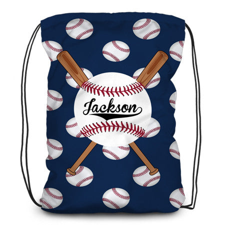 Drawstring backpack, tote - Baseballs & Bats - Designs by Dee's Hands  - 1