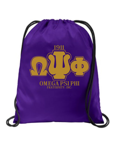 RQQ! Travel - Omega Psi Phi Drawstring Bag, Backpack, Cinch Bag - Designs by Dee's Hands  - 1