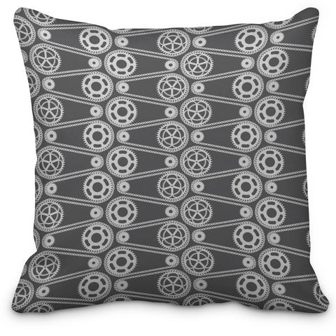 Grey Bike Gears Throw Pillow - Designs by Dee's Hands