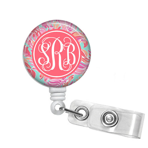 Badge Holder, Retractable Badge Reel - Love Birds - Designs by Dee's Hands  - 1