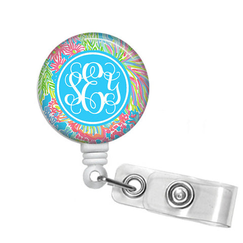 Badge Holder, Retractable Badge Reel - Blue Lovers - Designs by Dee's Hands  - 1