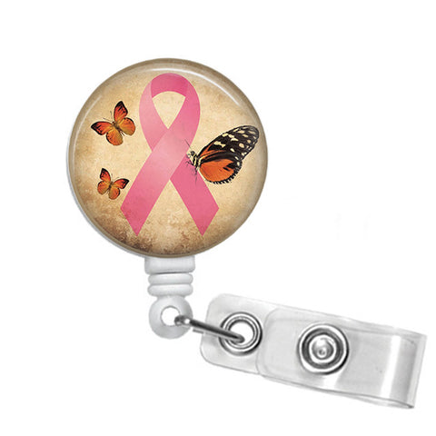 Badge Holder Retractable Badge Reel Breast Cancer Awareness Badge Reel - Designs by Dee's Hands  - 1