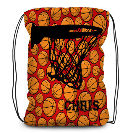 Drawstring backpack, tote - Basketballs & Hoop - Designs by Dee's Hands