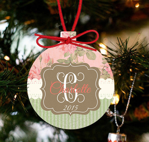 Monogrammed Tea Roses Holiday Ornament - Designs by Dee's Hands