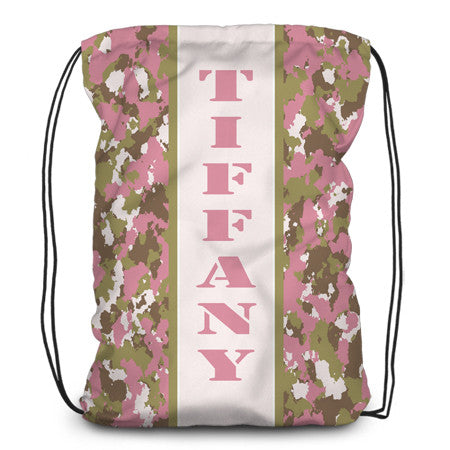 Drawstring backpack, tote - Camo Pink - Designs by Dee's Hands
