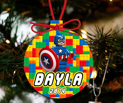 Personalized Christmas LEGO Ornament - Lego Movie Character Captain America - Designs by Dee's Hands  - 2