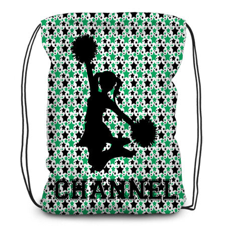 Drawstring backpack, tote - Star Cheerleader - Green - Designs by Dee's Hands
