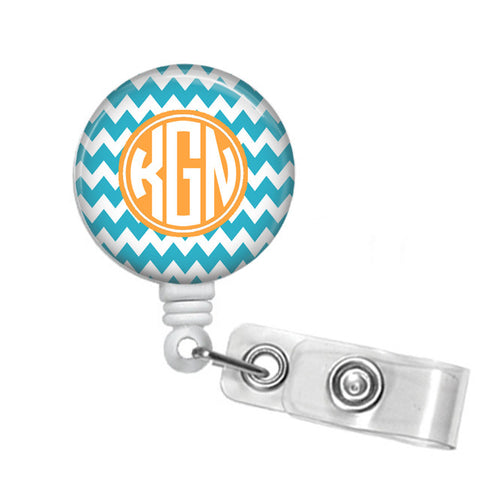 Chevron Monogrammed Badge Reel - Designs by Dee's Hands  - 1