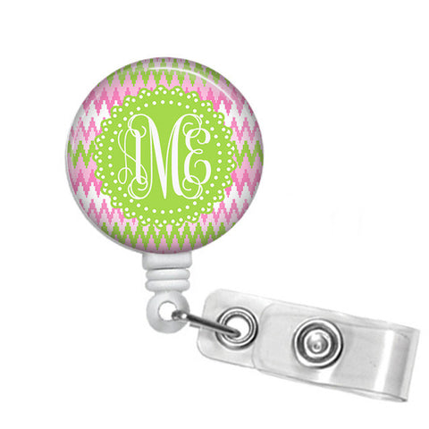 Badge Holder, Retractable Badge Reel, Pink and Green Chevron - Designs by Dee's Hands  - 1