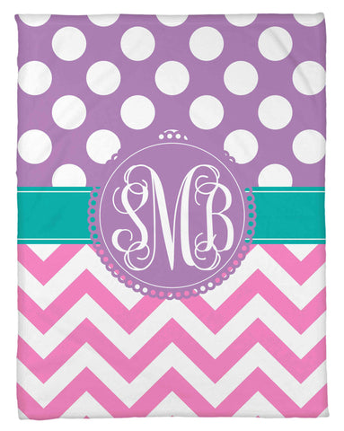 Polka Dots & Chevron Fleece Blanket - Personalized - NEW LOWER PRICING!!! - Designs by Dee's Hands  - 1