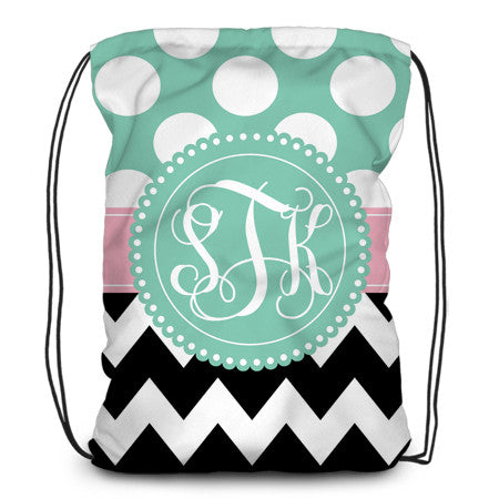 Drawstring backpack, tote - Chevron & Dots - Designs by Dee's Hands  - 1