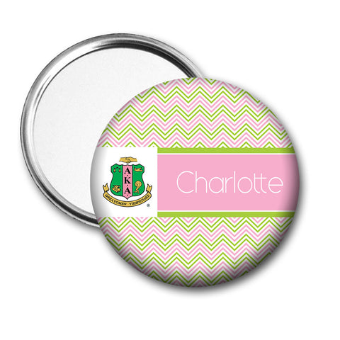 "Alpha Kappa Alpha Personalized 3"" Pocket Mirror - Chevron - Designs by Dee's Hands  - 1"