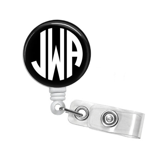Badge Holder, Retractable Badge Reel, Circle Monogram - Designs by Dee's Hands  - 1