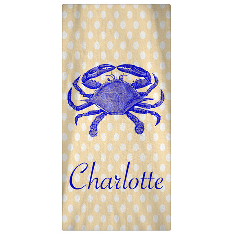Beach Towel,  Crab & Dots - Designs by Dee's Hands  - 1