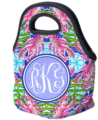 Lunch Tote, Monogrammed Lunch Bag - Crawfish Crazy - Designs by Dee's Hands