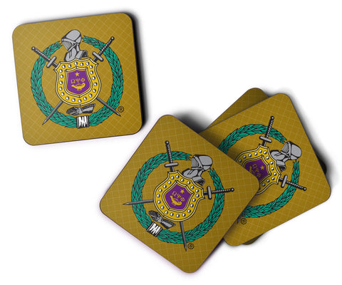 RQQ! Home - Omega Psi Phi  - Purple and Gold Shield Custom Coasters - Set of 4 - Designs by Dee's Hands  - 3