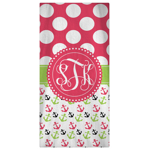 Beach Towel, Monogrammed Polka Dots & Anchors - Designs by Dee's Hands  - 1