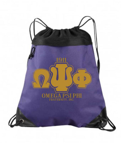 RQQ! Travel - Omega Psi Phi Drawstring Bag, Backpack, Cinch Bag - Designs by Dee's Hands  - 2