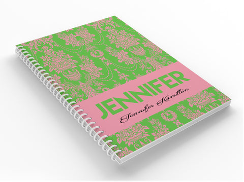 Elegance - Pink & Green Personalized Notebook