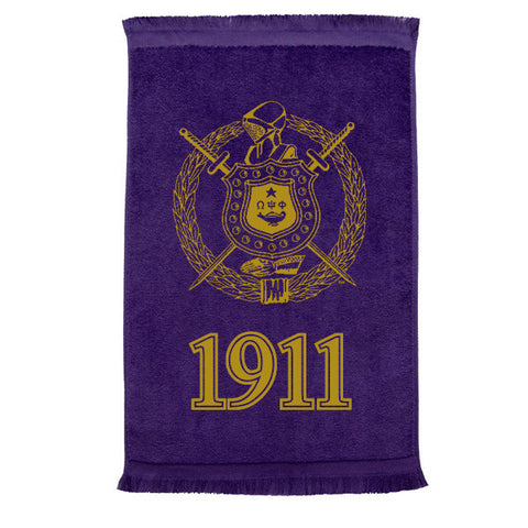 ΩΨΦ- Spirit Rally Towel - 11 x 18 Purple & Gold - Omega Psi Phi Fraternity - Designs by Dee's Hands
