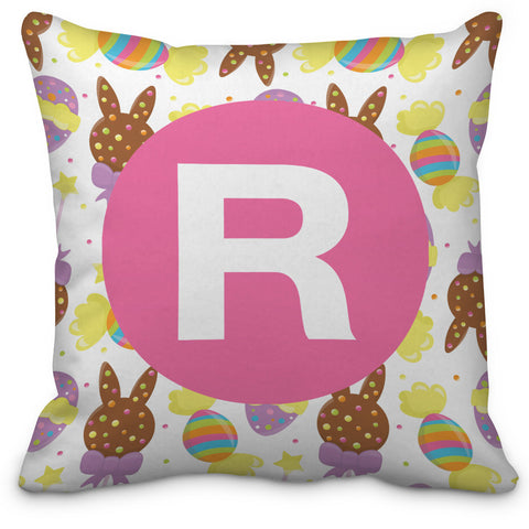 Easter Bunny and Eggs Letter Throw Pillow - Designs by Dee's Hands