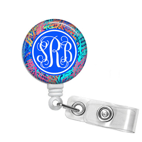 Badge Holder, Retractable Badge Reel - Electric Feel - Designs by Dee's Hands  - 1