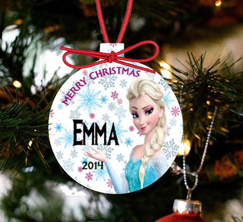 Personalized Frozen Christmas Ornament - Elsa Ice Queen - Designs by Dee's Hands