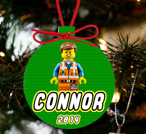 Personalized Christmas LEGO Ornament - Lego Movie Character Hard Hat Emmet - Designs by Dee's Hands  - 2