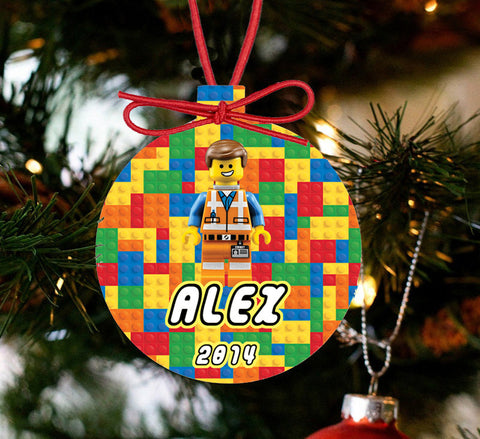 Personalized Christmas LEGO Ornament - Lego Movie Character Hard Hat Emmet - Designs by Dee's Hands  - 1