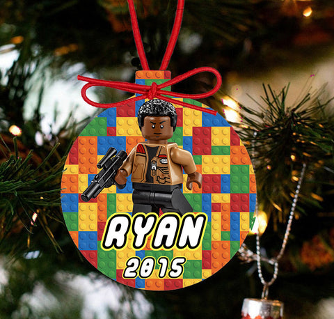 Personalized Christmas LEGO Ornament - Lego Movie Character FINN - Designs by Dee's Hands
