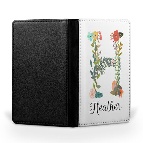 Personalized Passport Cover, Passport Holder - Floral Letter and Name