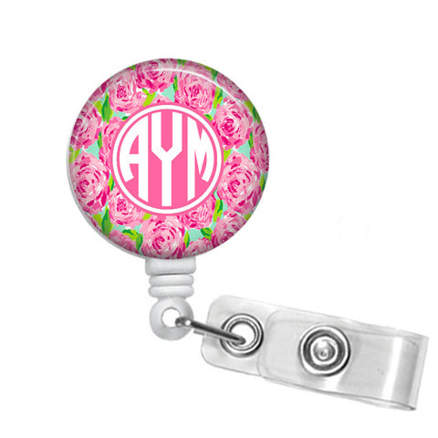 First Impressions Lilly Pulitzer Inspired Monogrammed Badge Reel - Designs by Dee's Hands  - 1