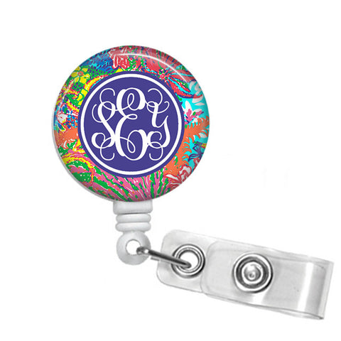 Badge Holder, Retractable Badge Reel - Fishing for Compliments - Designs by Dee's Hands  - 1