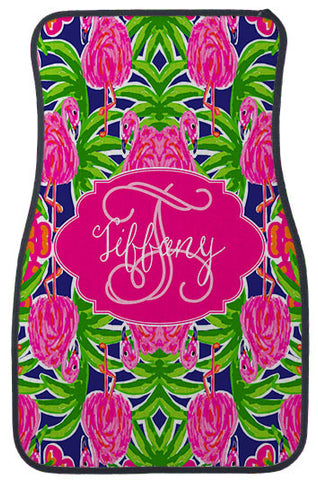 Car Mats Personalized Monogram Pink Flamingo Fling - Designs by Dee's Hands