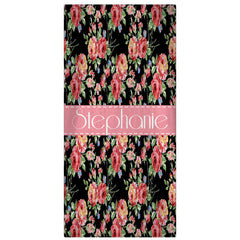 Personalized Beach Towel, Floral Print Monogrammed Towel - Designs by Dee's Hands  - 1