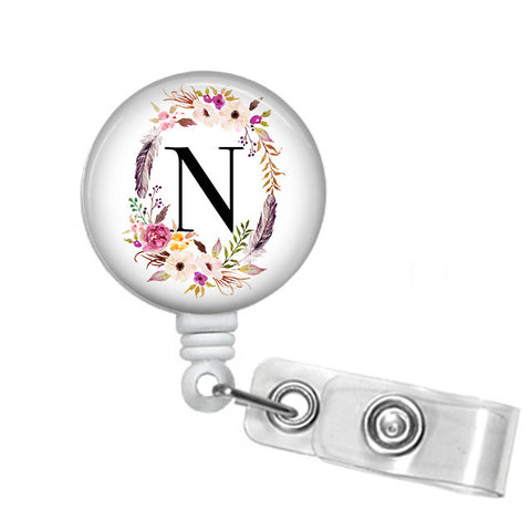 Badge Holder, Retractable Badge Reel, Floral Frame and Initial - Designs by Dee's Hands  - 1