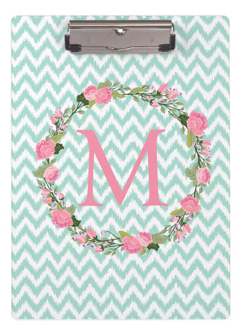 Clipboard Dry Erase Board - Garden party initial and Ikat Chevron - Designs by Dee's Hands