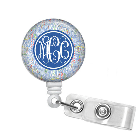 Get Nauti Monogrammed Badge Reel - Designs by Dee's Hands  - 1