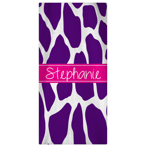 Personalized Beach Towel, Giraffe Monogrammed Towel 64 Color Options - Designs by Dee's Hands  - 1