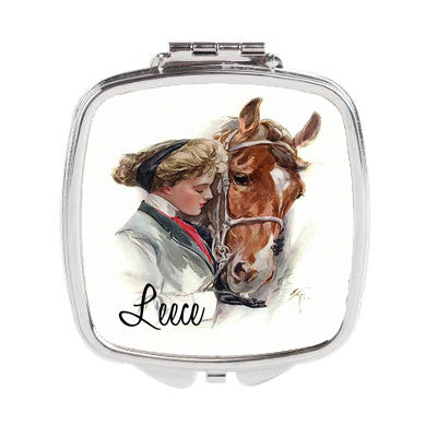 Equestrian Rider & Horse Personalized Duel Compact Mirror or 3 inch Pocket Mirror - Designs by Dee's Hands  - 1