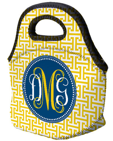 Lunch Tote - Greek T's Blue & Gold - Designs by Dee's Hands