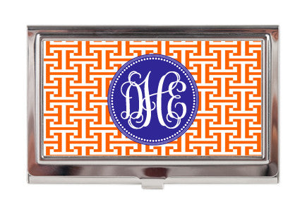 Business Card Case - Greek Keys - Pick Your Colors - Designs by Dee's Hands  - 1