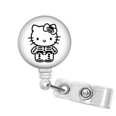 Badge Holder, Retractable Badge Reel, X-Ray Kitty - Designs by Dee's Hands  - 1