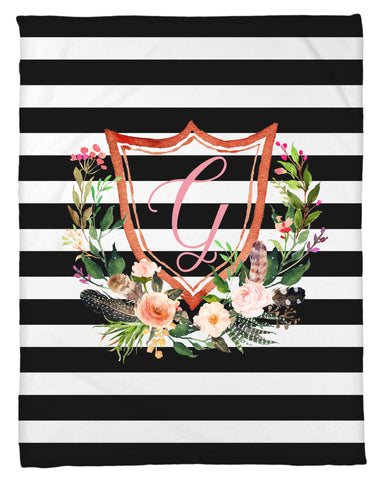 Stripes and Floral Shield Inital Fleece Blanket - Personalized - NEW LOWER PRICING!!! - Designs by Dee's Hands