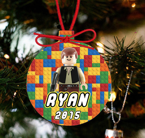 Personalized Christmas LEGO Ornament - Lego Movie Character Hans Solo - Designs by Dee's Hands